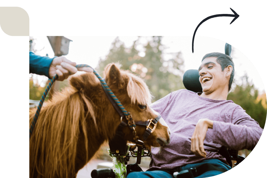 happy man petting a therapy horse