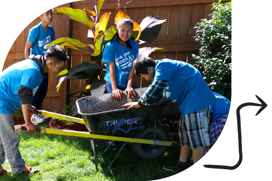 youth volunteers helping with landscaping