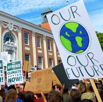 group protesting for climate action