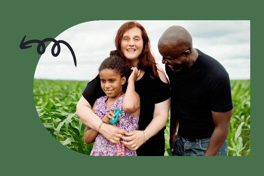 family in corn field