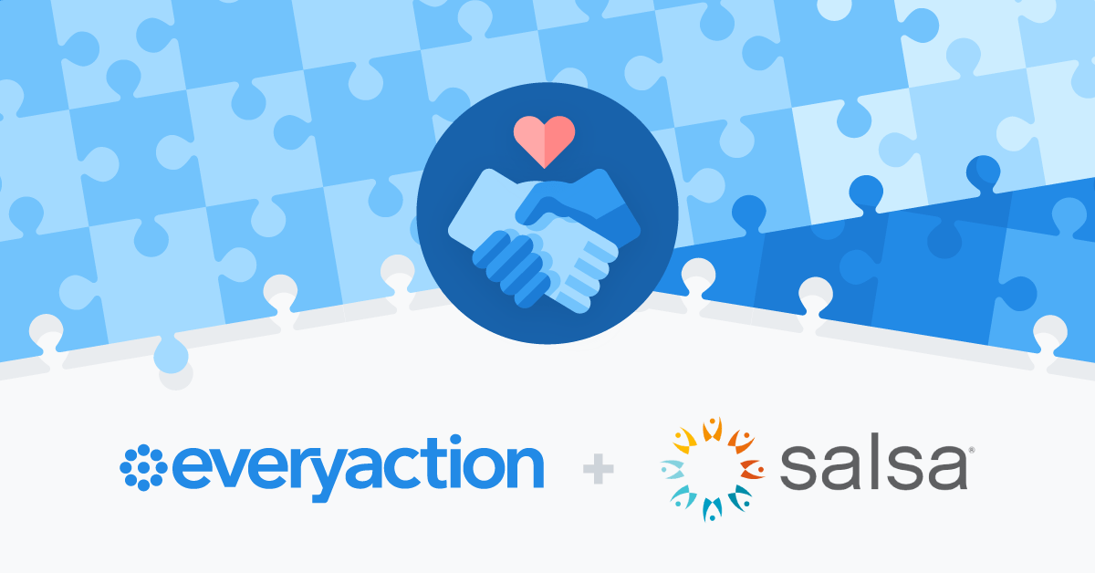 A blog header with a white and blue puzzle piece background and a hand-shaking icon demonstrating EveryAction's acquisition of Salsa Labs.