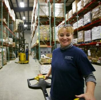 woman working at a fulfillment center