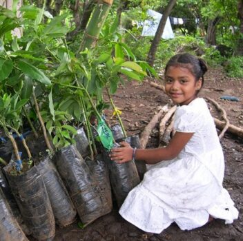 young girl helping plant trees